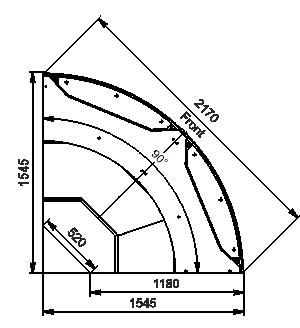 Угловые эленты холодильных витрин Missouri MC 120 deli PS/self 130/086-DLM-ER90