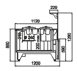 Kühlvitrinen Missouri NC 120 tureen L 130