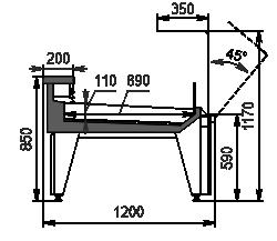 Холодильна вітрина Missouri MC 120 fish OS 120-SLM/SLA