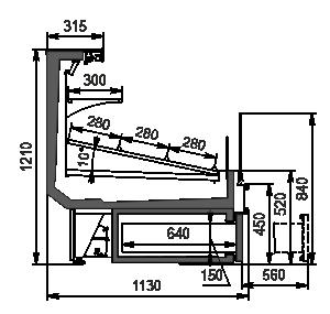 Холодильная витрина Missouri cold diamond MC 115 cascade VF self 121-DBA (option)