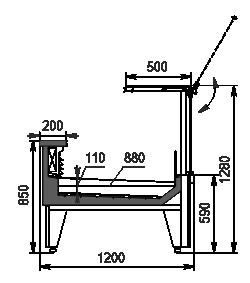 Kühlvitrinen Missouri MC 120 fish PS 130-SPLM/SPLA mit zusätzlicher Kühlpalette