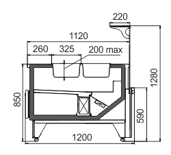 Kühlvitrinen Missouri MC 120 salads L 130-DBM