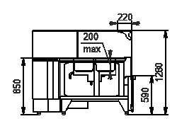 Wärme-Vitrine Missouri NC 120 heat BM L 130 ES90
