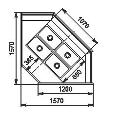 Тепловая витрина Missouri NC 120 heat BM L/self 130/112 ES90