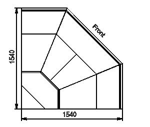 Winkelelemente von Kühlvitrinen Missouri MC 120 deli OS 120-DLM-ES90