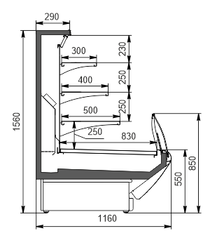 Refrigerated counters Symphony MG 120 cascade self 160-DLM