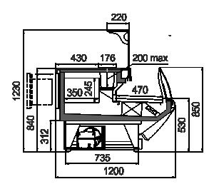 Refrigeration сounters Symphony MG 120 sushi/pizza combi L А