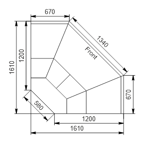 Winkelelemente von Kühlvitrinen Missouri enigma MK 120 deli OS-DLM-ES90