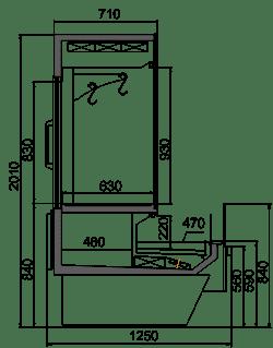 Kühlvitrinen Missouri Enigma MC 125 crystal combi S/self 200- S/DBM/DBA
