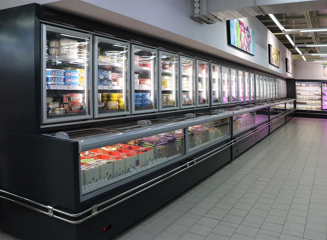 Frozen foods unit Alaska combi 2, Multideck cabinet Indiana MV 080 MT O 205-DLM