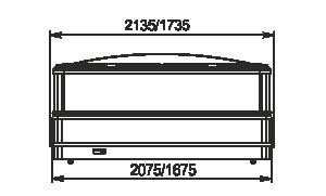 Витрины для замороженных продуктов Yukon cube MH 160/200 LT C 088-DLM TL торцевой модуль с крышкой - вид спереди