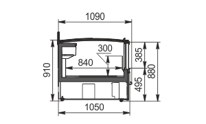Витрины для замороженных продуктов Yukon cube AH 160/200 LT C 088-SLA TL торцевой модуль