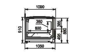 Вітрини для заморожених продуктів Yukon cube MH 160/200 LT C 088-DLM TL - торцевий модуль з кришкою