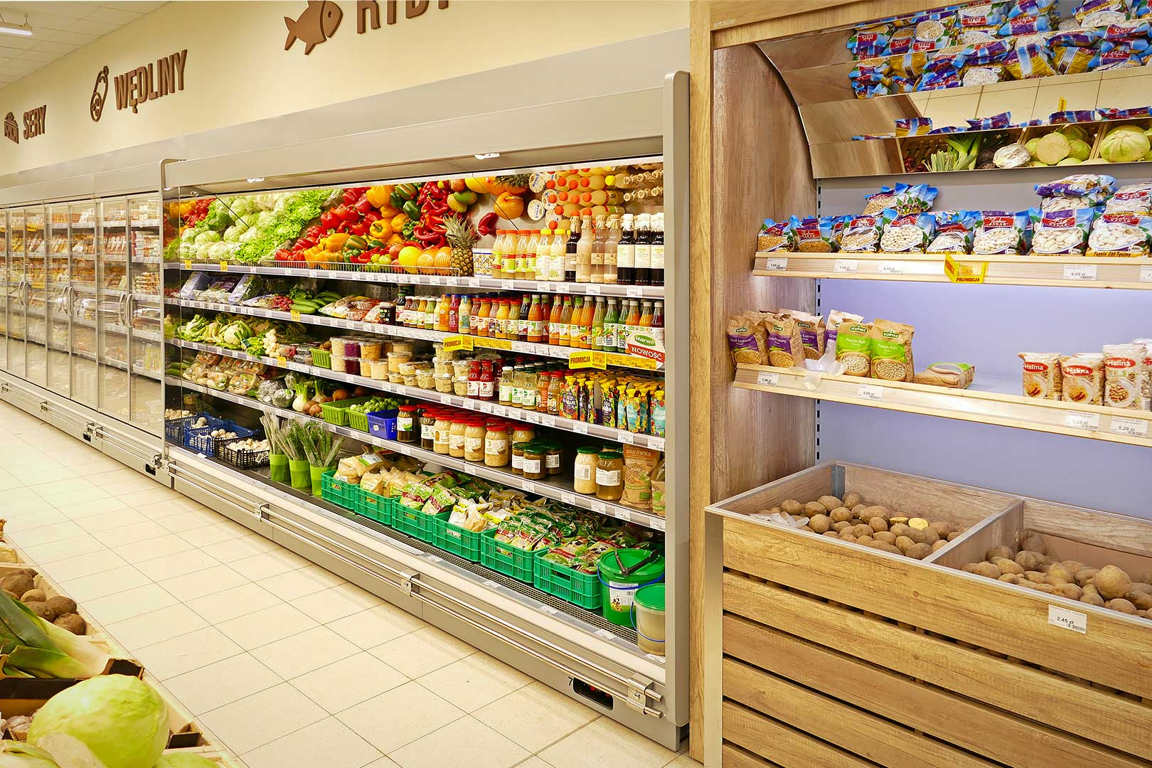 Спеціалізовані вітрини для продажу овочів та фруктів Louisiana FV MV 095 VF О 210-DLM, пристінні вітрини Louisiana MV 095 MT D 210-DLM