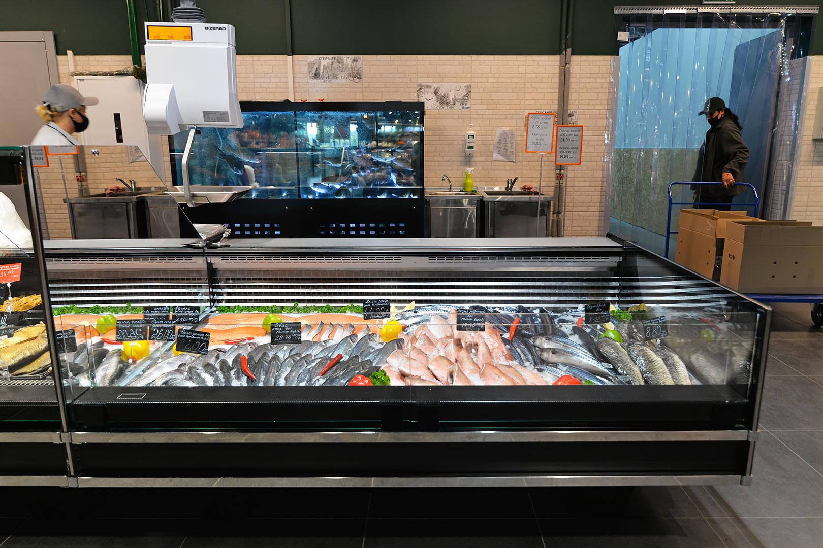 Холодильне обладнання HITLINE TECHNOKHOLOD Спеціалізовані вітрини для продажу риби та морепродуктів Missouri Cold Diamond MC 126 fish self 084-SLM