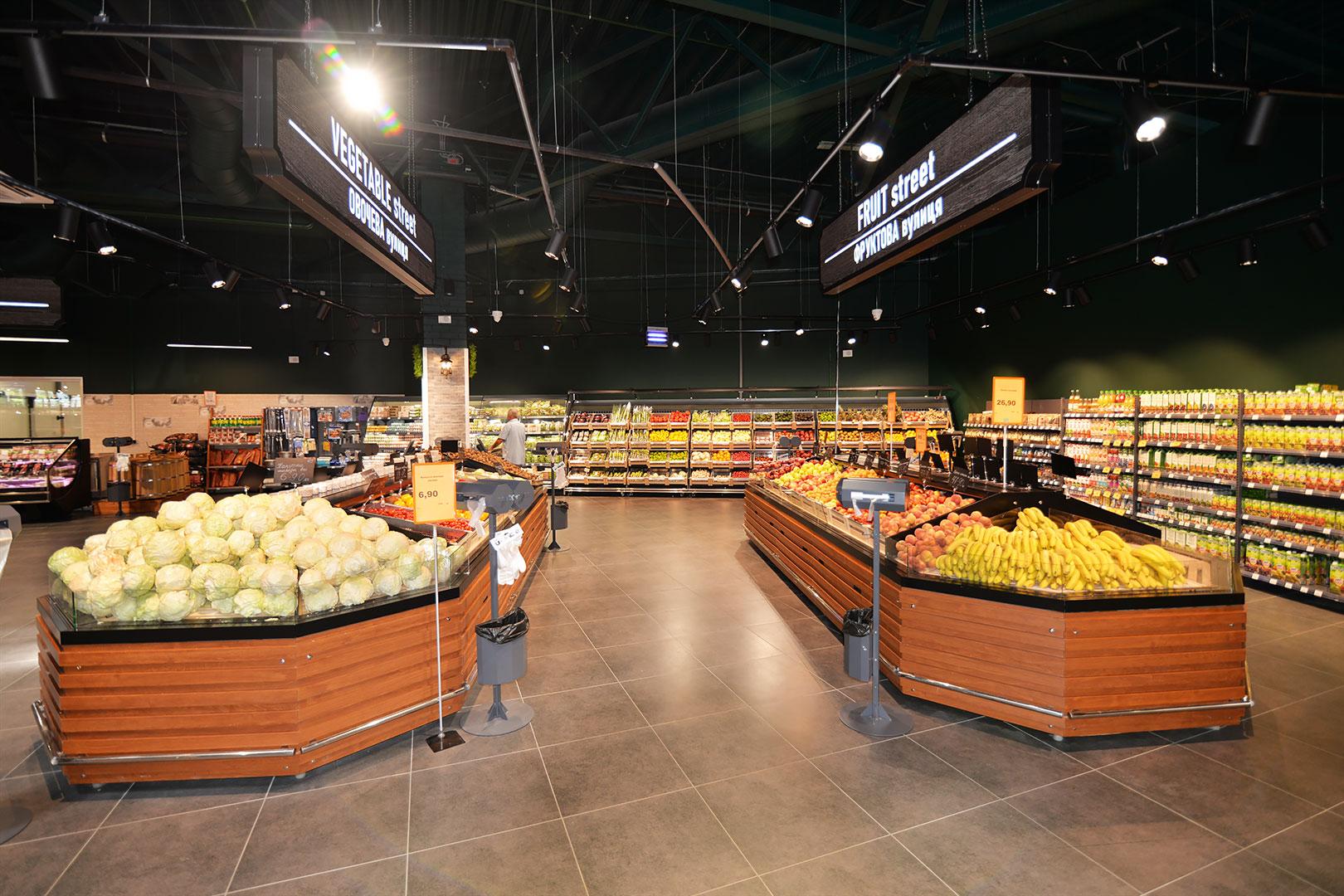 Специализированные витрины для продажи овощей и фруктов Missouri VF MC 110 VF self 110-DBM, Louisiana VF MV 110 VF O 180-DLM