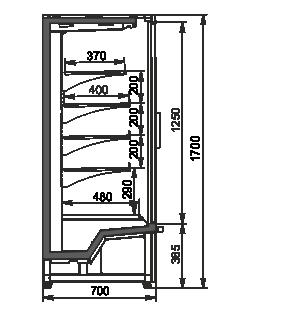 Напіввертикальні вітрини Indiana eco medium ASV 070 MT D 170-DLM/DLA