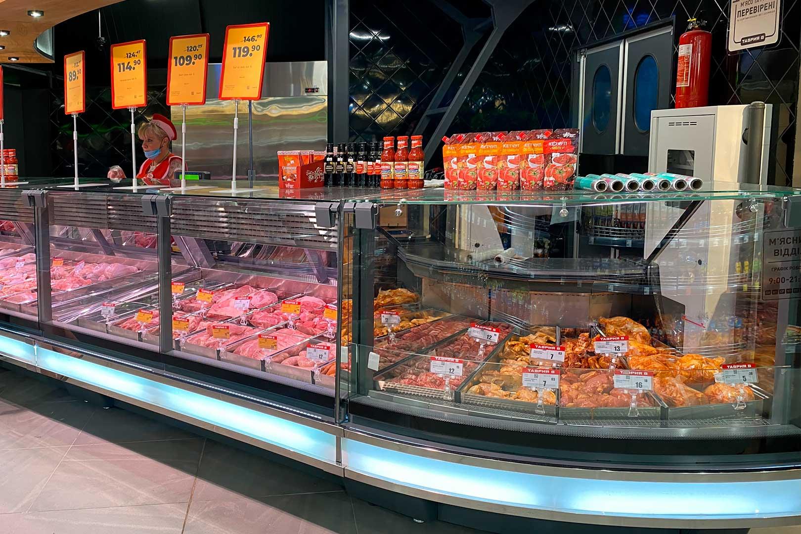 Специализированные витрины для продажи мяса Missouri cold diamond MC 115 meat PS 121-SLM, угловые элементы Missouri cold diamond MC 115 deli PS 121-DLM-ER45S 121-DLM-ER45