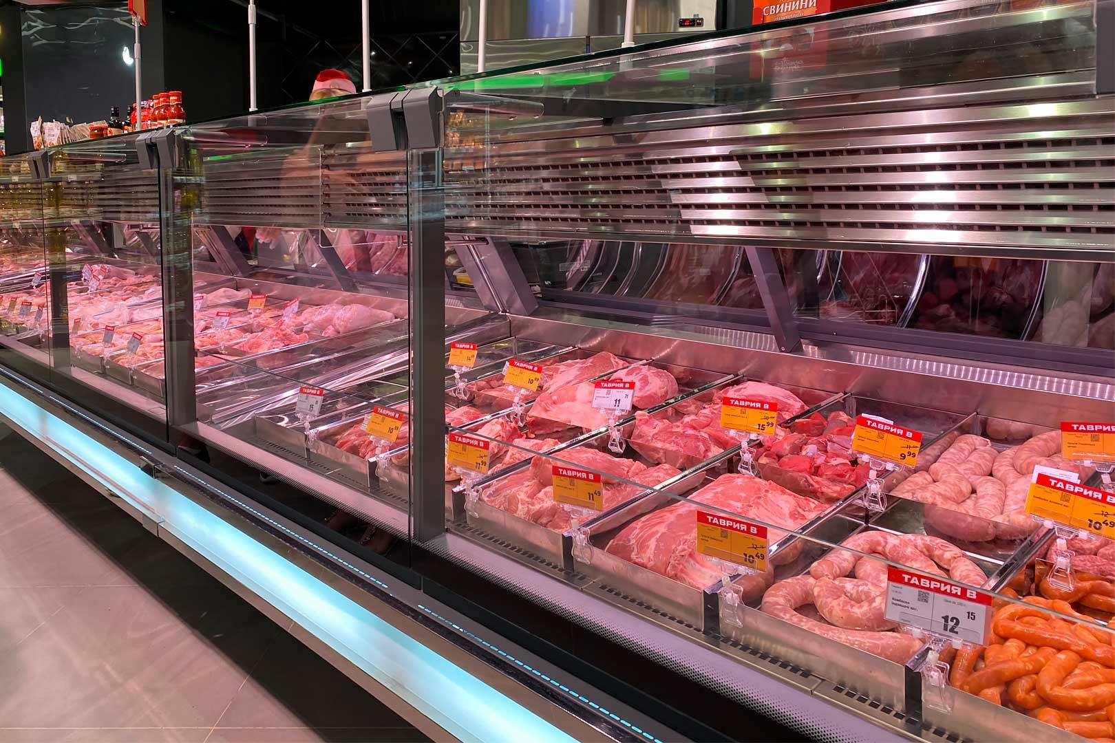 Специализированные витрины для продажи мяса Missouri cold diamond MC 115 meat PS 121-SLM