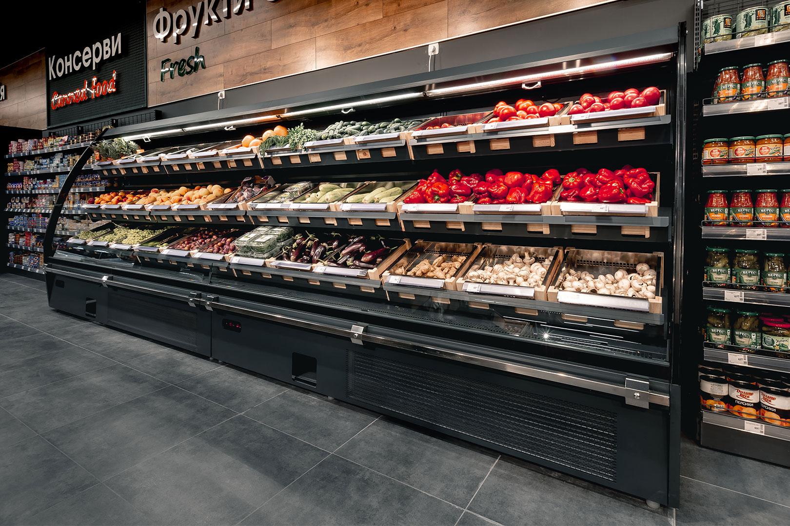 Спеціалізовані вітрини для продажу овочів та фруктів Louisiana eco ASV 105 VF O 180-DLA