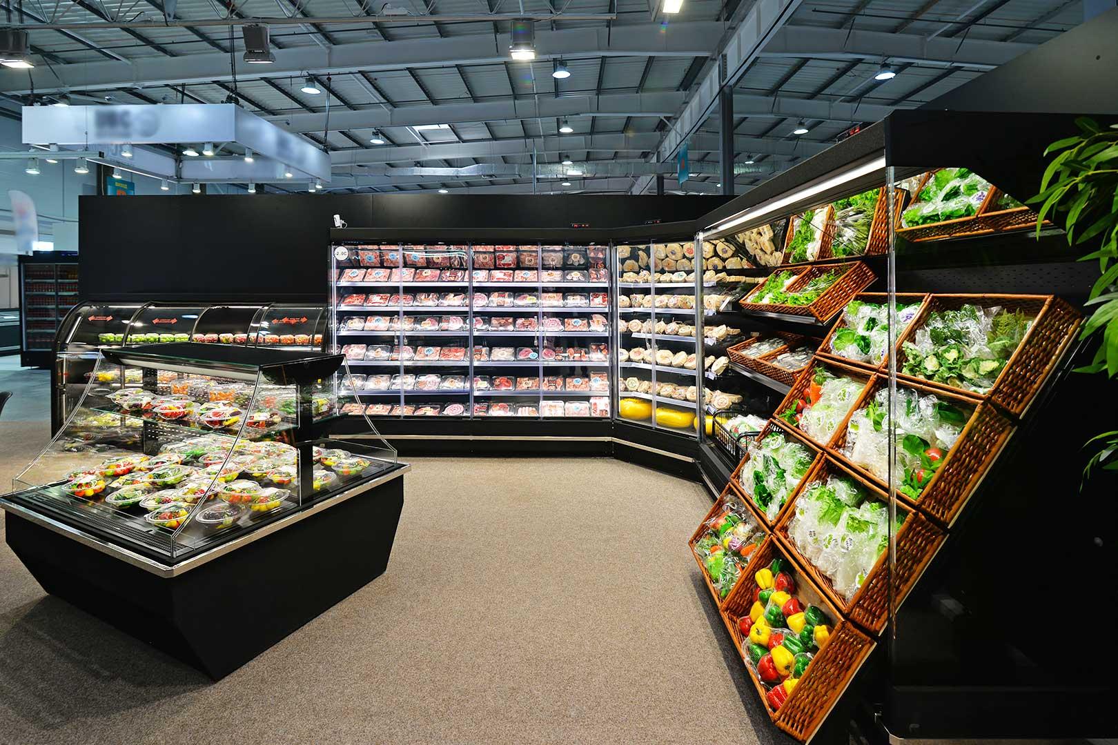 Multideck cabinets Indiana MV 080 MT D 205-DLA, Indiana MV 080 MT D 205-DLA-IS90, specialized unit for vegetables and fruit sales Indiana MV 080 FV O 205-DLA, promotional merchandiser Virginia AI 120 deli self 120-DLA