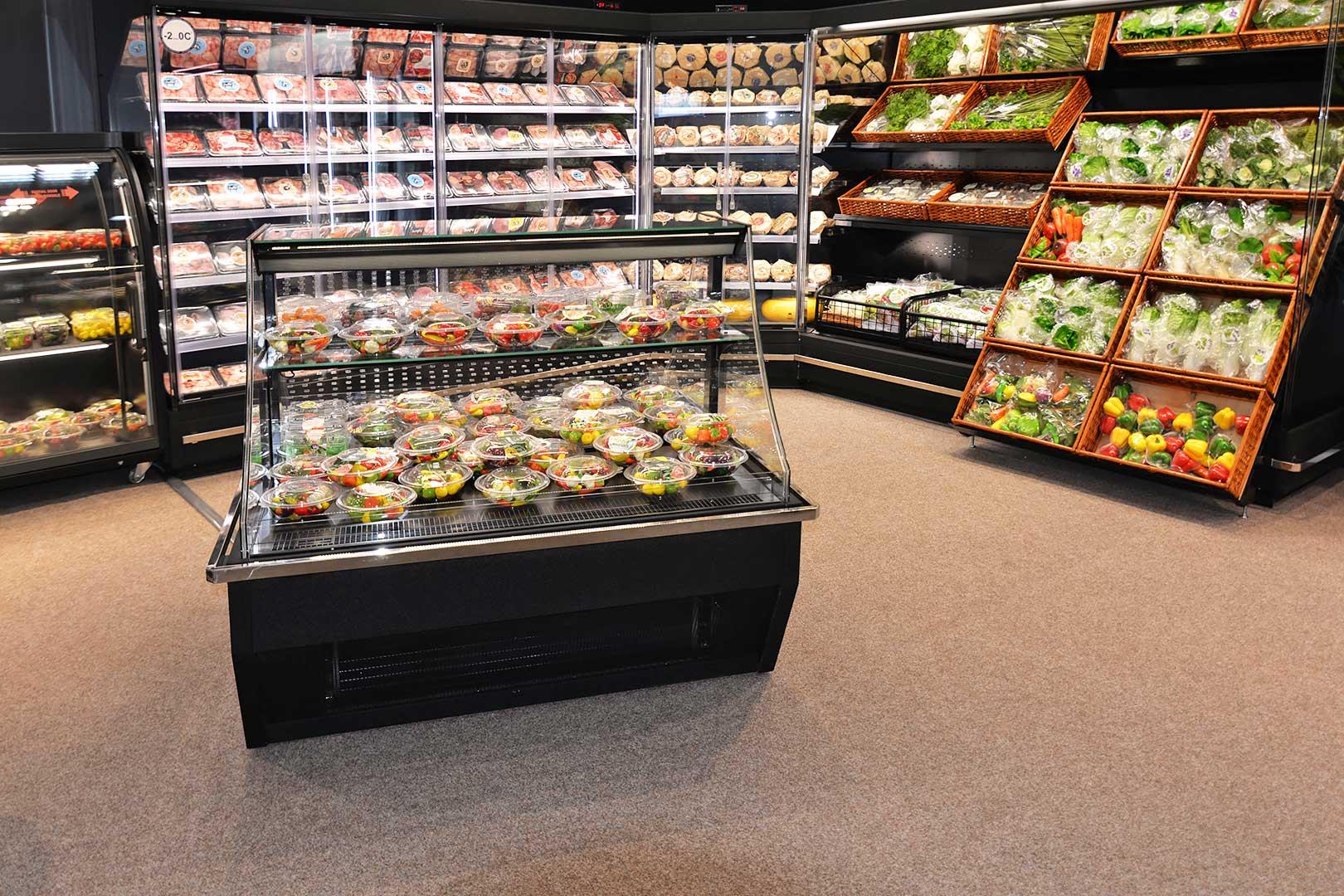 Promotional merchandiser Virginia AI 120 deli self 120-DLA , multideck cabinets Indiana MV 080 MT D 205-DLA, Indiana MV 080 MT D 205-DLA-IS90, specialized unit for vegetables and fruit sales Indiana MV 080 FV O 205-DLA