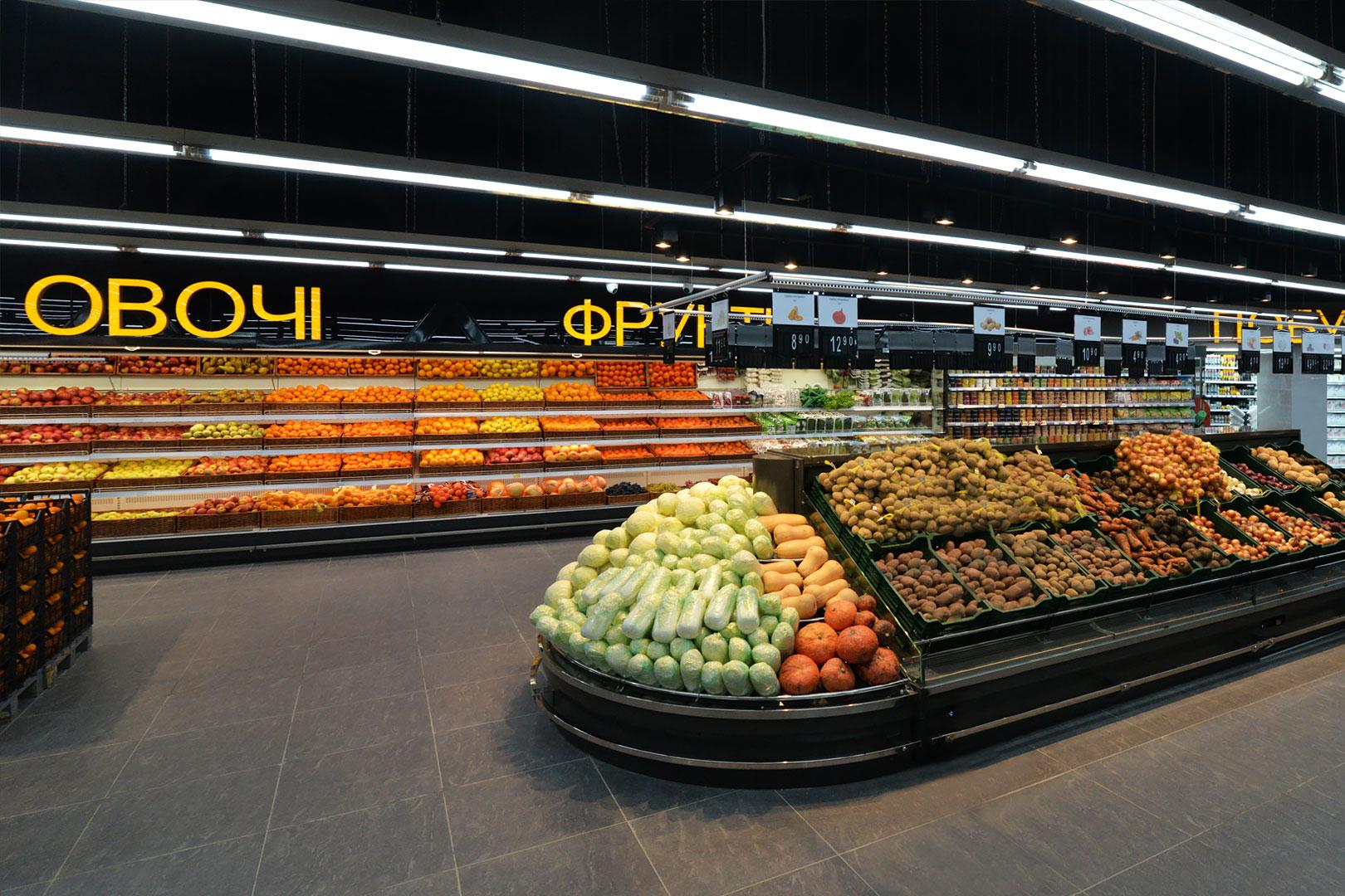 """Специализированные витрины для продажи овощей и фруктов Indiana VF MC 130 VF self 140-DLM в супермаркете """"Рост"""""""