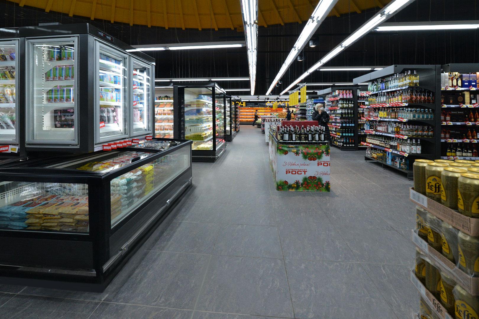 """Витрины для замороженных продуктов Alaska combi 2 SD MHV 110 LT D/C 220-DLM в супермаркете """"Рост"""""""