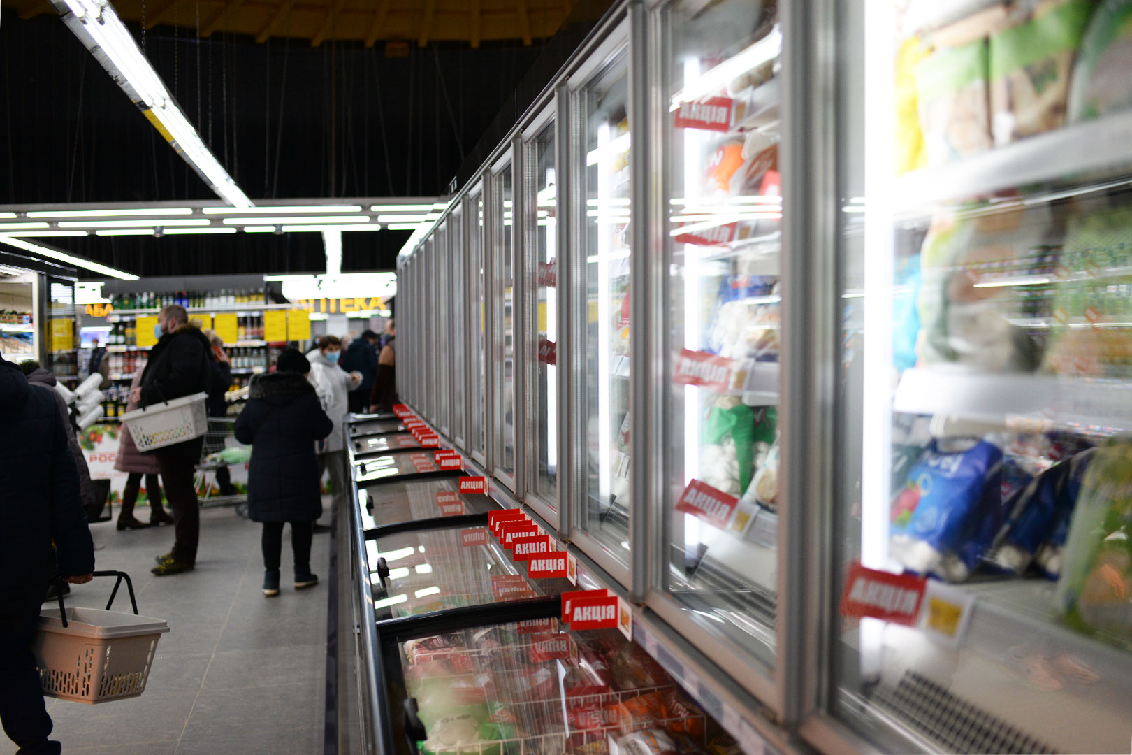"""Вітрини для заморожених продуктів Alaska combi 2 SD MHV 110 LT D/C 220-DLM в супермаркете """"Рост"""""""