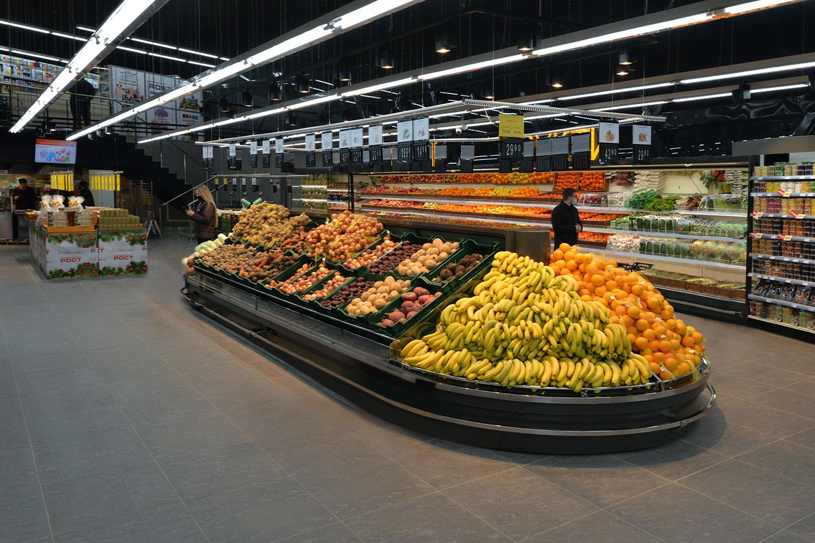 """Специализированные витрины для продажи овощей и фруктов Indiana VF MC 130 VF self 140-DLM, Indiana MV 080 FV O 220-DLM в супермаркете """"Рост"""""""