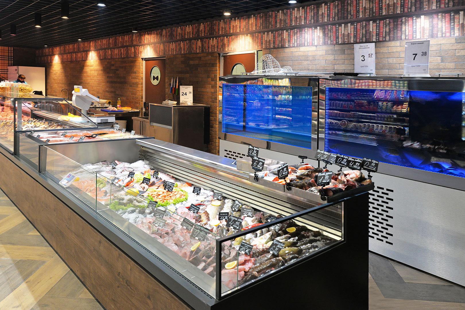 Специализированные витрины для продажи рыбы и морепродуктов Missouri MC 120 fish self 086-SLA, Missouri MC 120 ice self 086-SLM
