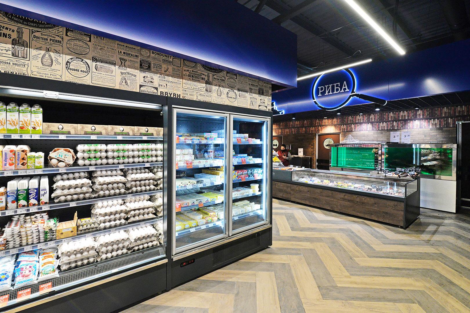 Multideck cabinets Indiana medium AV 085 MT O 210-DLM, frozen foods unit Indiana medium AV 085 LT D 210-DLA