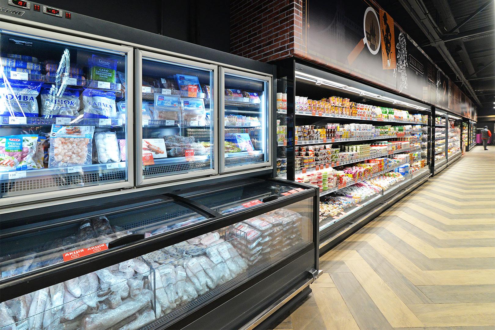 Витрины для замороженных продуктов Alaska combi 2 MD MHV 110 LT D/C 220-DLM, пристенные витрины Indiana MV 080 MT O 205-DLM