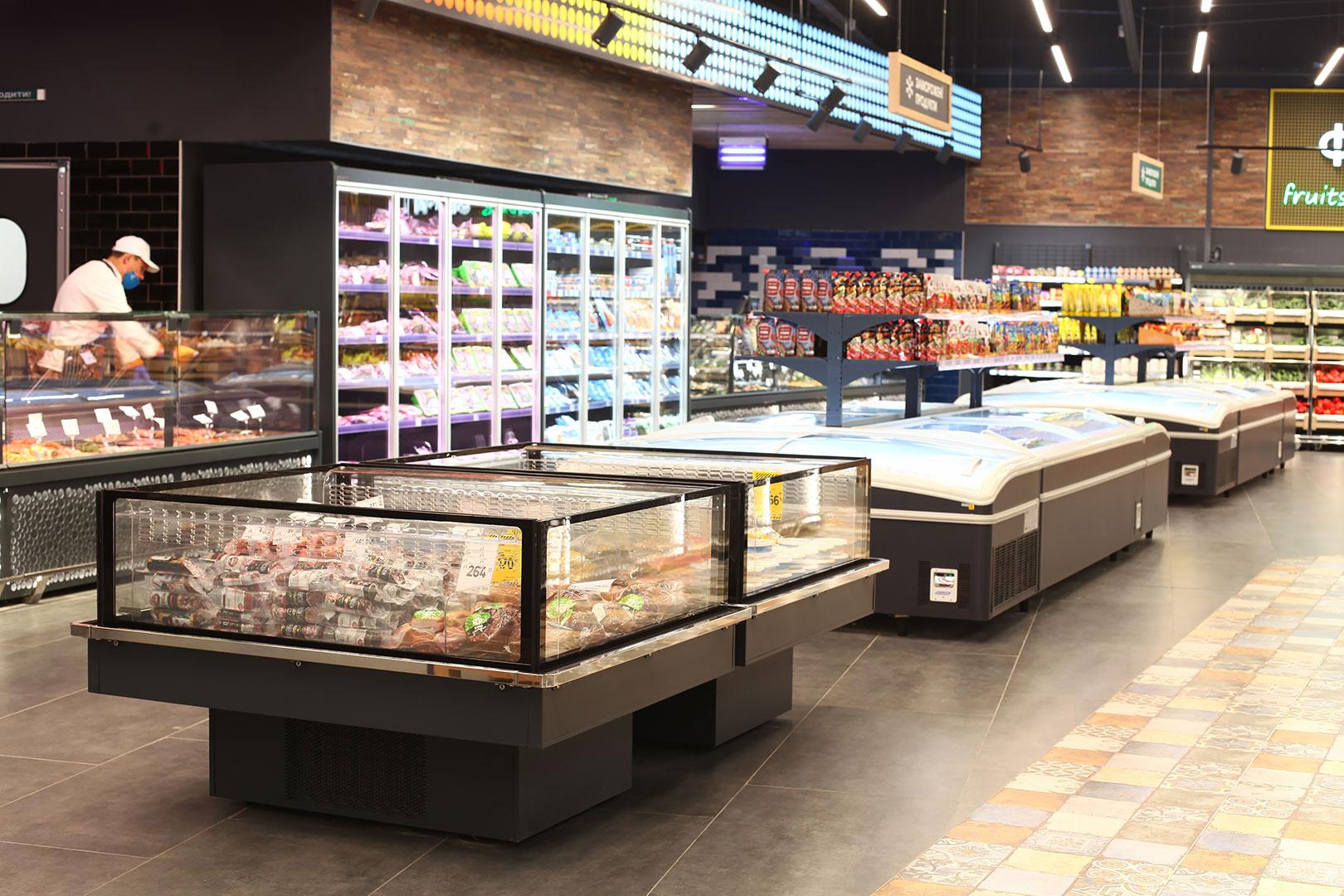 Промоциональные витрины Virginia AC 120 deli self 086-DLA, витрины для замороженных продуктов Super AH 092 LT C 079-SLA