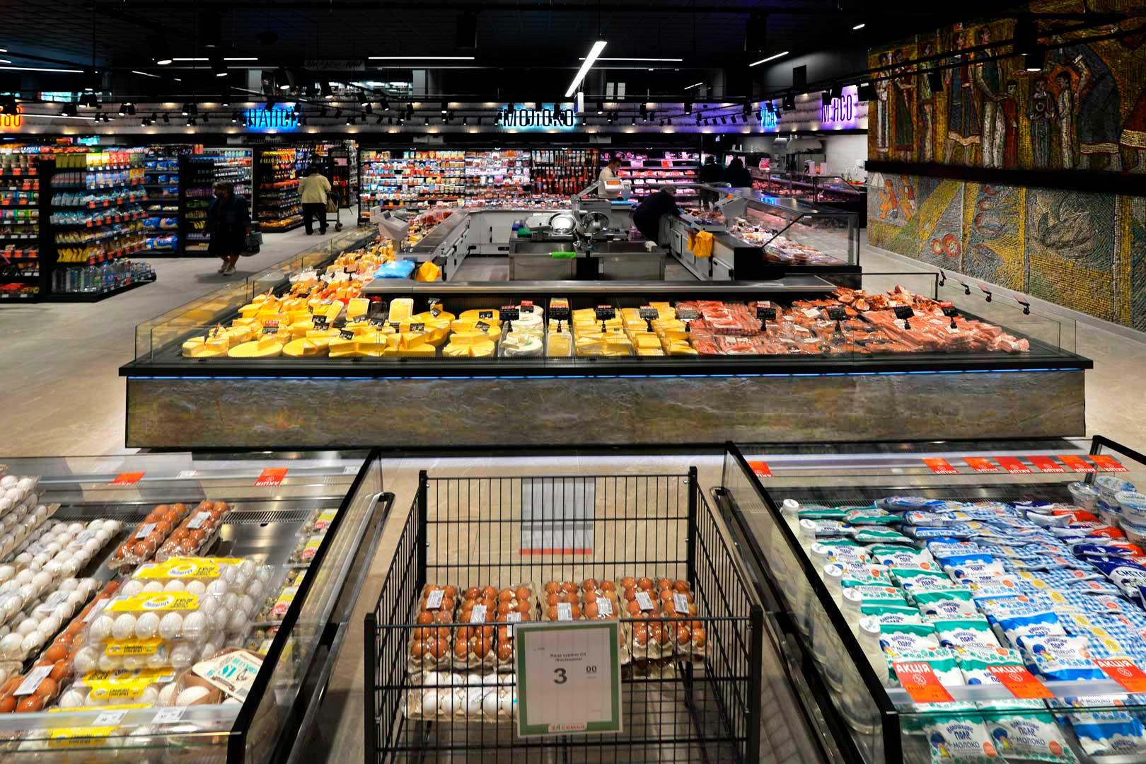 """Холодильні вітрини Virginia AK 115 deli self, Missouri MC 120 deli self 086, супермаркет """"Сім'я"""""""