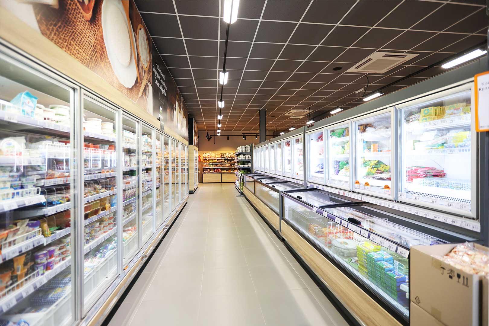 Холодильні пристінні вітрини Louisiana MV 095 MT D 210-DLМ, вітрини для заморожених продуктів Аlaska combi 2 MHV 110 LT D/C 200-DLM-MD, супермаркет VARUS