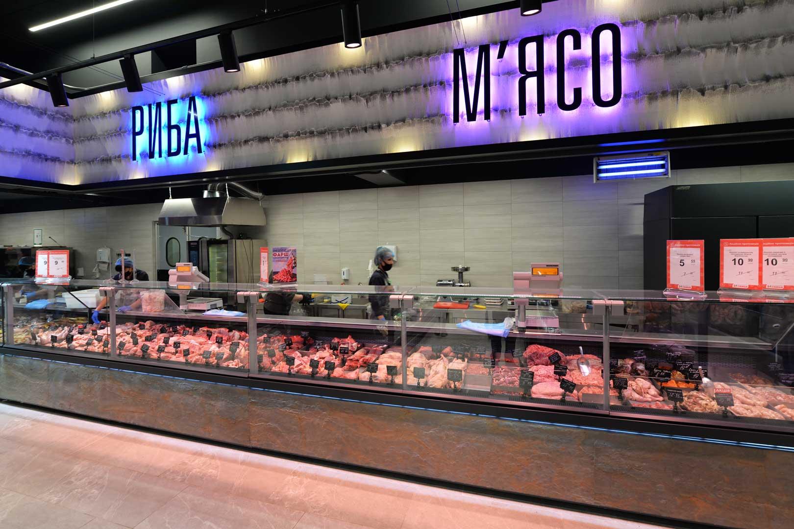 """Холодильні вітрини Мissouri MС 120 deli PS 130, супермаркет """"Сім'я"""""""