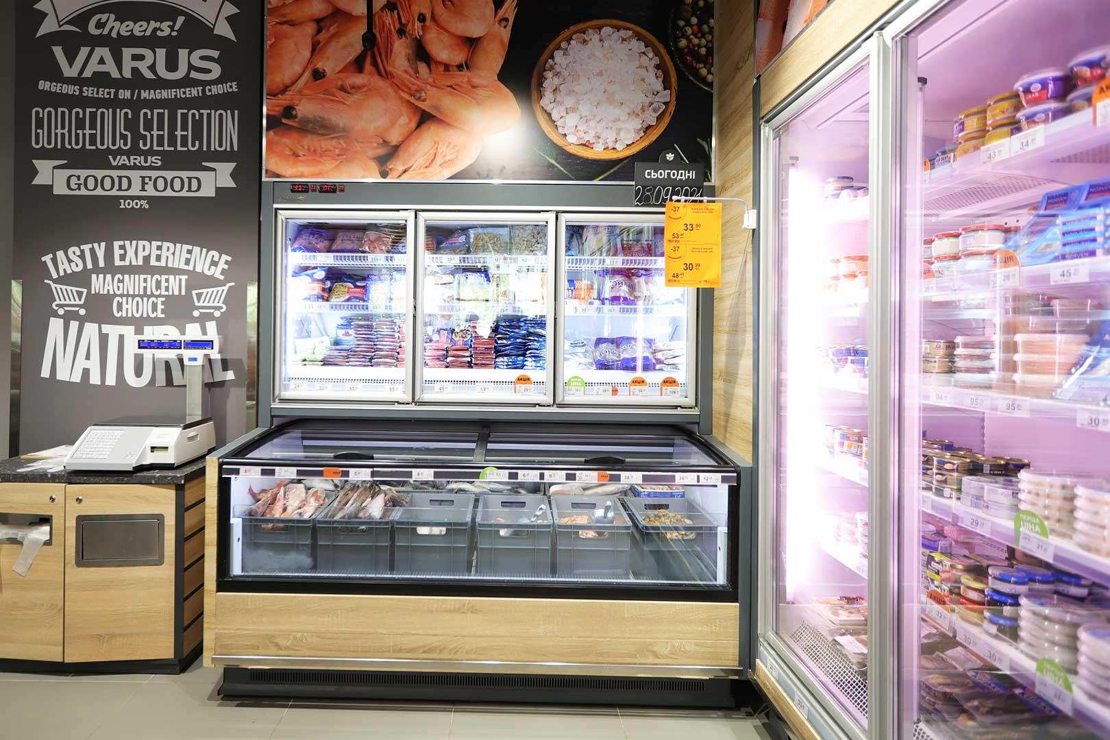 Холодильна пристінна вітрина Louisiana MV 090 LT D 225-DLМ, вітрина для заморожених продуктів Аlaska combi 2 MHV 110 LT D/C 200-DLM-MD, супермаркет VARUS