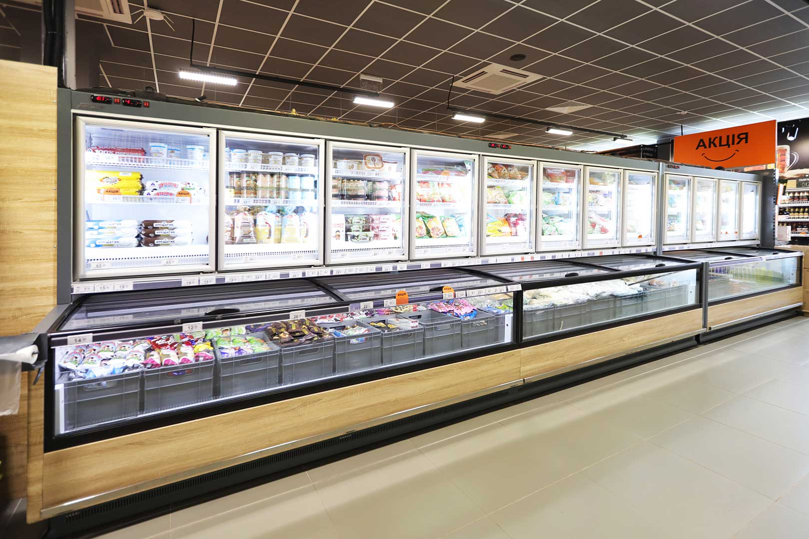 Вітрини для заморожених продуктів Аlaska combi 2 MHV 110 LT D/C 200-DLM-MD, супермаркет VARUS