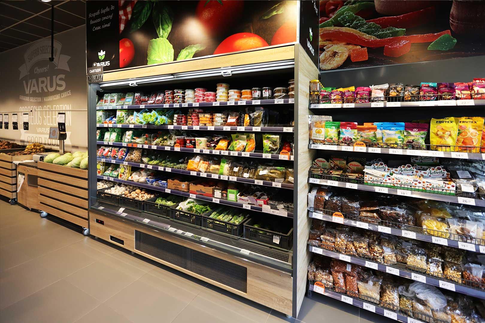 Холодильна пристінна вітрина Indiana medium AV 085 MT O 210-DLA, супермаркет VARUS
