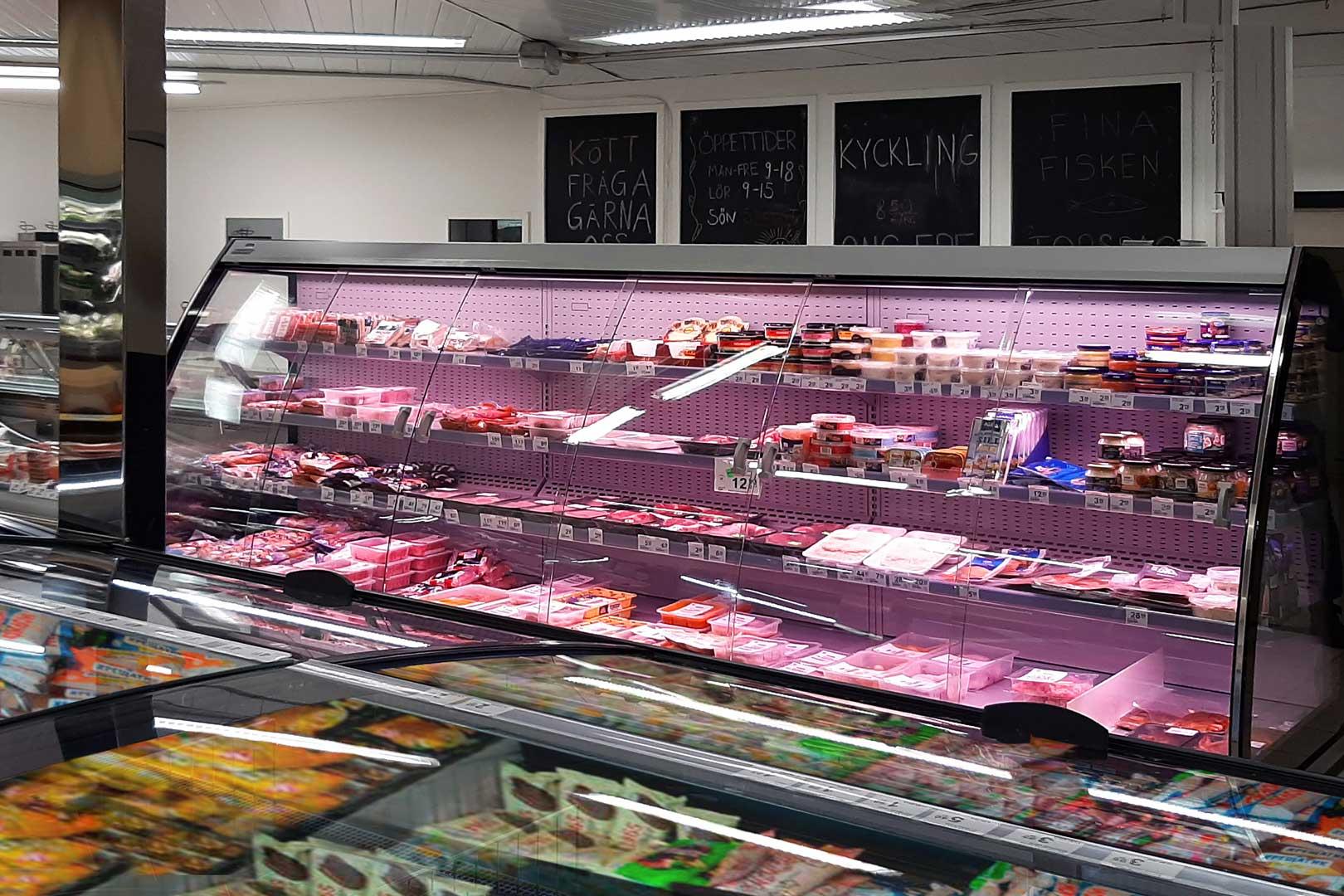 Напіввертикальна холодильна вітрина Louisiana eco MSV 105 MTD 200-DLM-375, супермаркет KEA-market у Фінляндії