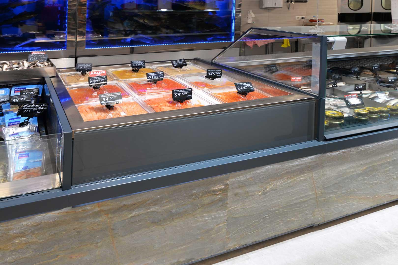 """Холодильні вітрини Мissouri MС 120 deli PS 130, Missouri AC 120 ice self, Мissouri MC 120 deli self 086, супермаркет """"Сім'я"""""""