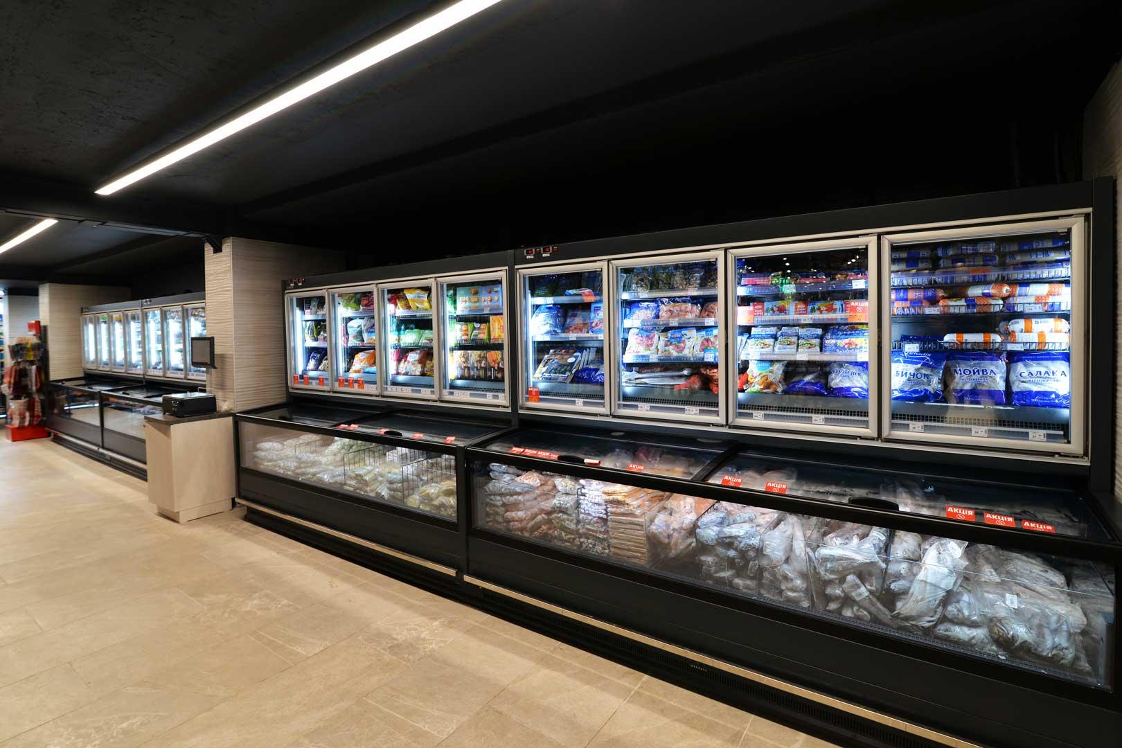 """Вітрини для заморожених продуктів Аlaska combi 2 MHV 110 LT D C 200, супермаркет """"Сім'я"""""""